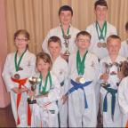 CUPS AND MEDALS: Back row (l-r) Bradley Halford, Matthew Bennett, Thomas Haysham. Middle row (l-r) Lucia Cunningham, Jake Quigley, Cian Allen, Evan Baron, Cody Jacobsen. Front row (l-r) Thea Cunningham and Maddison Allen. Missing from the picture is Morga