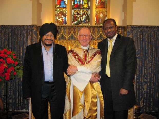 WISE MEN: Sheikh Elnayyal Abu Groon, Canon Robin Morrison and Sheikh Abdalla Yassin Mohammed at St Mary's Church, Wenvoe