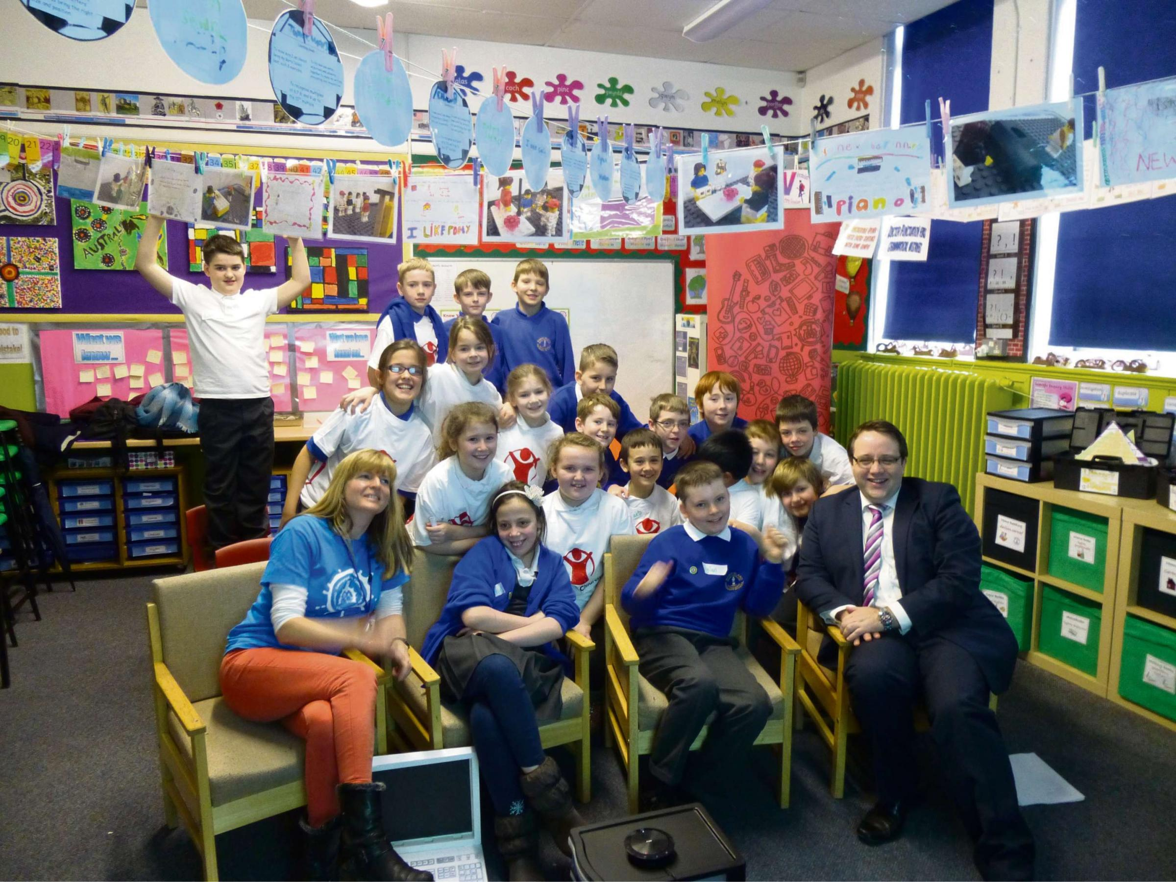 INTRICATE WEB: Barry Island primary pupils and Cllr Chris Elmore