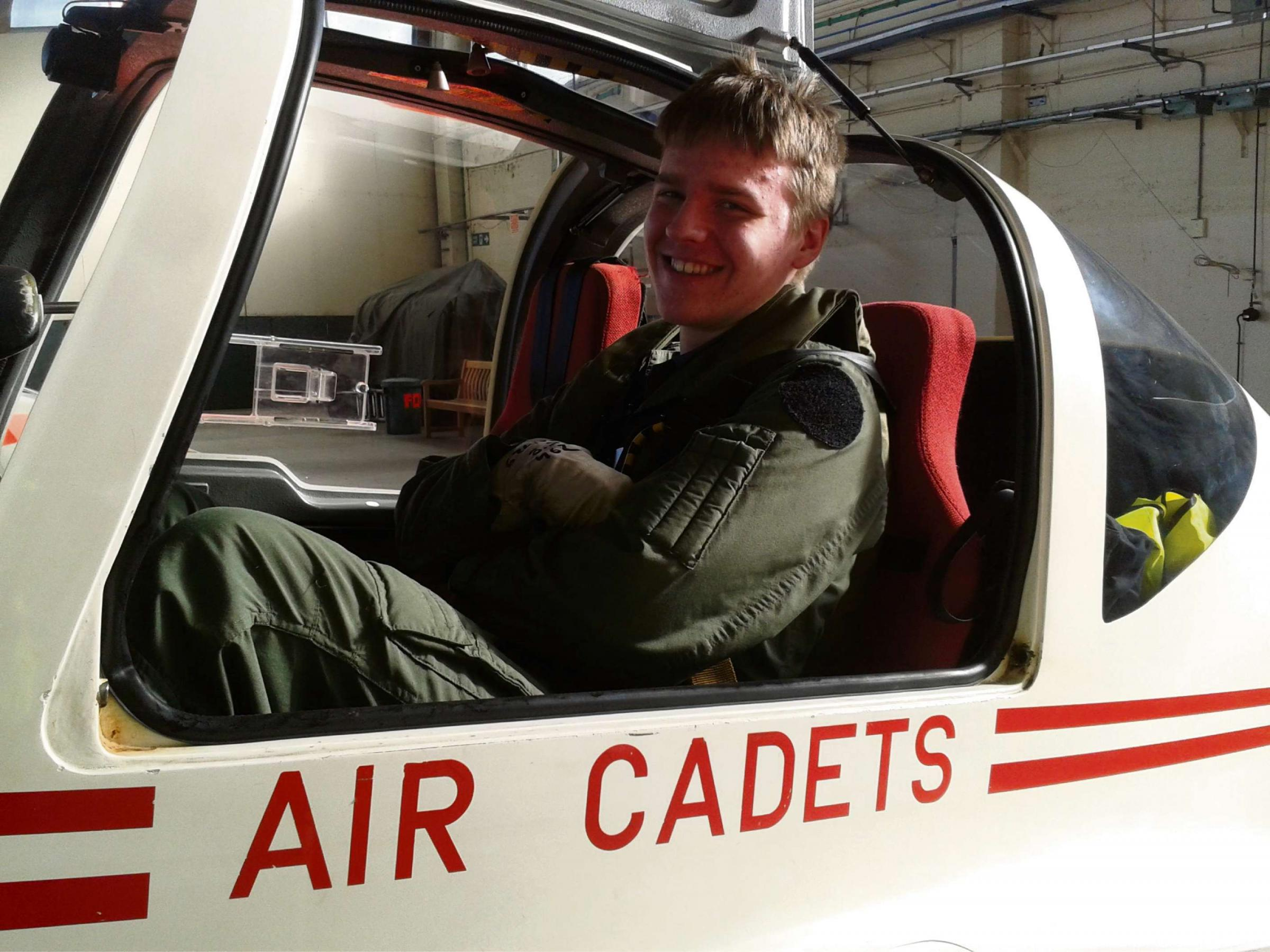 AIR EXPERIENCE: Cadet Lachlan Davies in cockpit of the Vigilant glider.