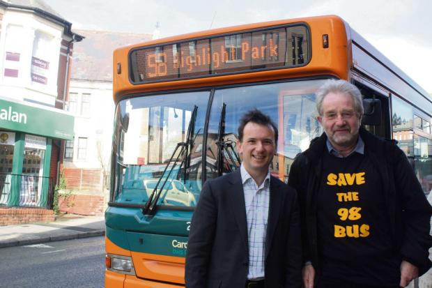 TO BE CONTINUED: Vale MP Alun Cairns and campaigner Elwyn Toozer celebrate Bus 98 remaining in service (4360916)
