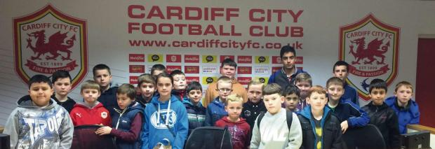 STADIUM VISIT: Part of a February half term soccer camp for Barry youngsters was a visit to the home of Premier League club Cardiff City.