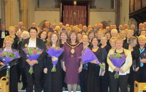 FUNDRAISING CONCERT: The Mayor Cllr Claire Curtis, Jodi Bird (to the right of the Mayor) and the three choirs