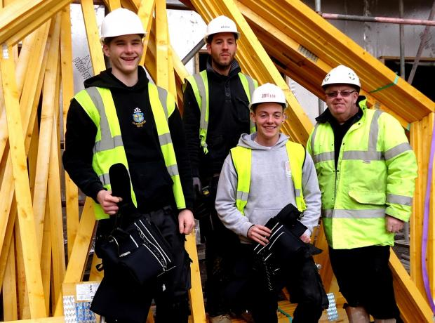 HIRED: Joshua Hackett and Niall Hackett at the site with Nyron Wood Jehu site manager and Luke Bowden Stewart Milne