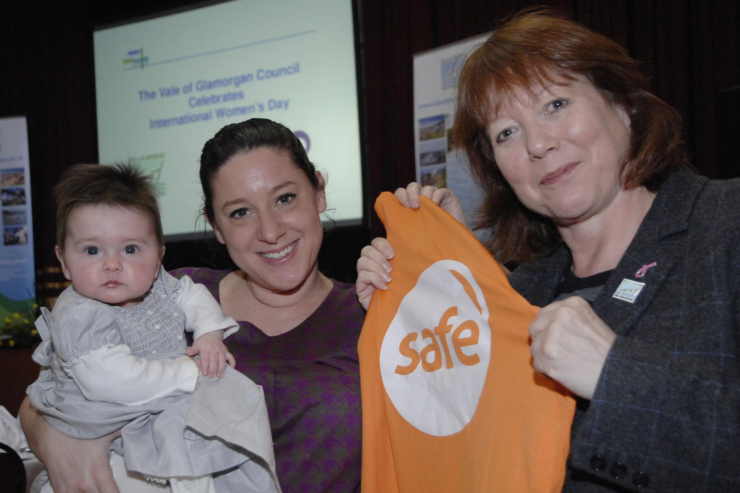 CHARITY: Councillor Lis Burnett (right) with The Safe Foundation co-founder Hannah Fitt and her daughter Matilda