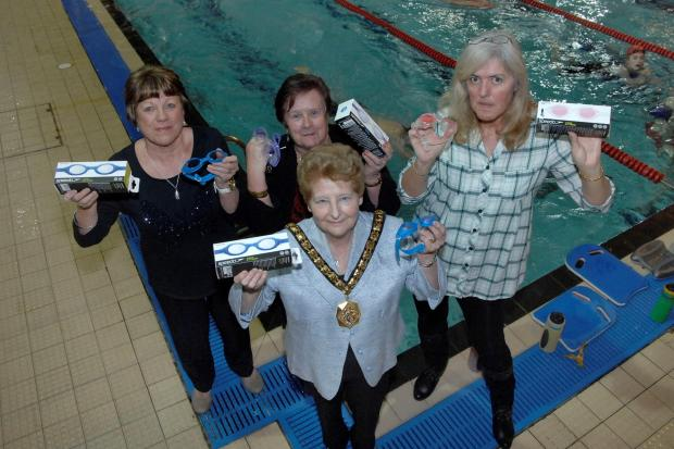GOGGLES DONATION: Pictured with Councillor Wilkinson are Angela Price (Barry Beavers Swimming Club), Sue Walsh (Penarth Swimming Club) and Heulwen Cooper (Barry Swimming Club).