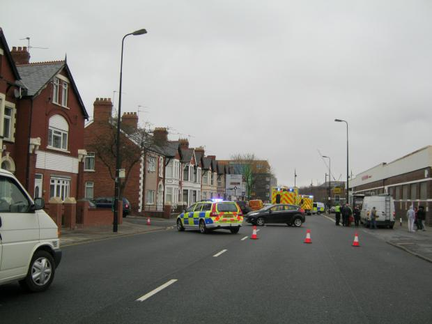 CREWS ON SCENE: The scene of the accident in Broad Street, Barry (4833034)