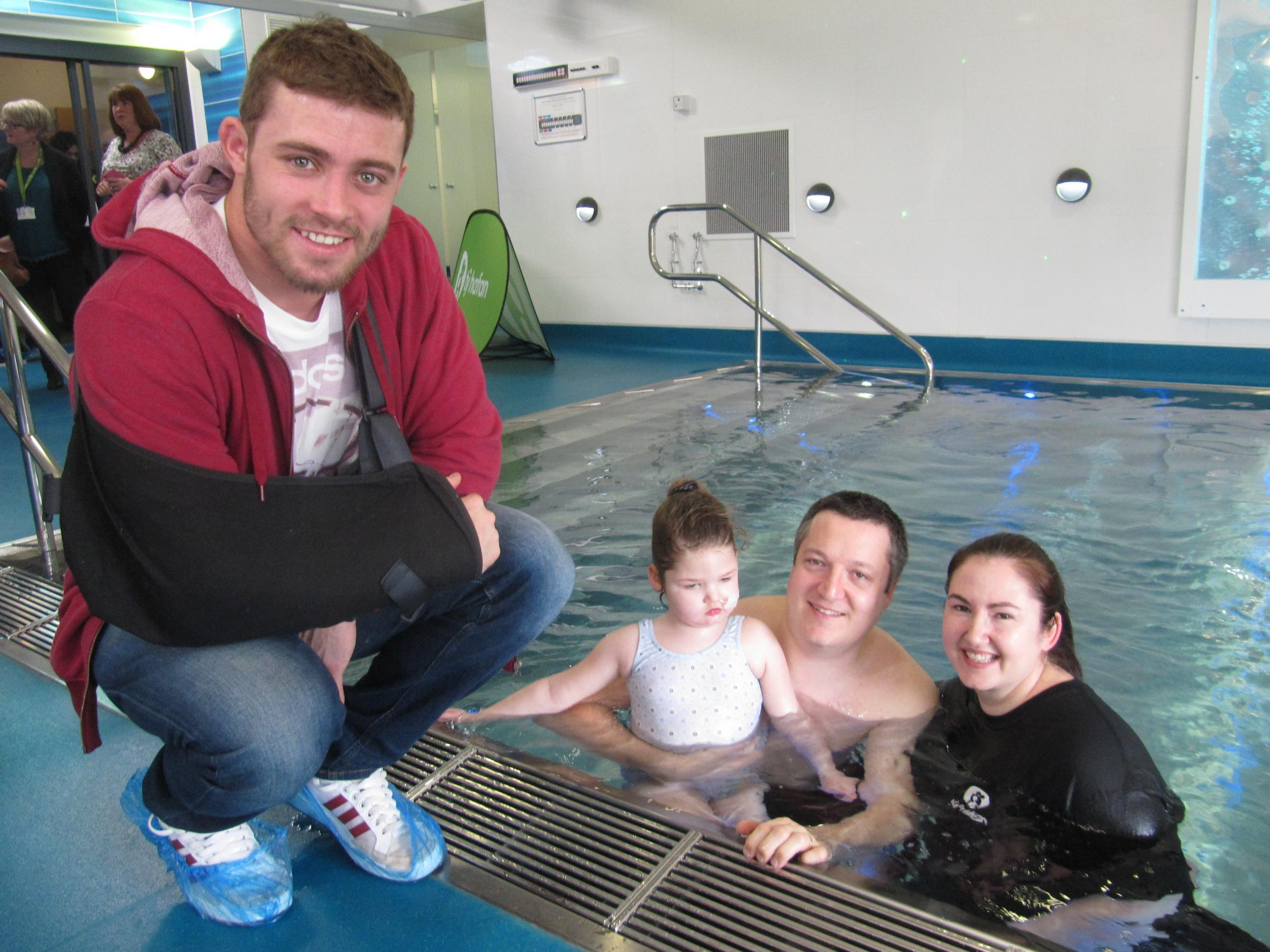 Welsh rugby star Leigh opens hydrotherapy pool at children's hospice
