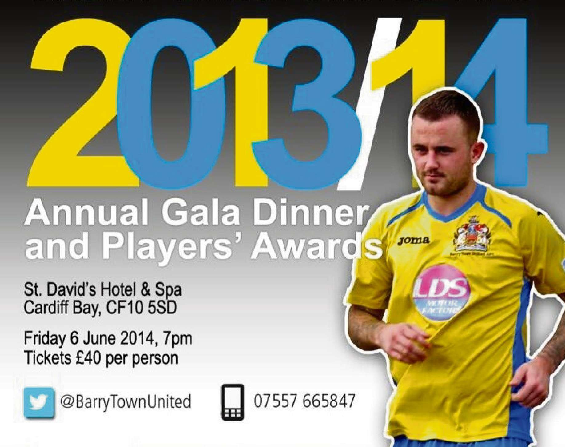 AWARDS GALA: Barry Town United's annual awards gala will be held at the St David's Hotel, Cardiff Bay, on June 6 when former Wales international Dean Saunders will be the guest speaker.