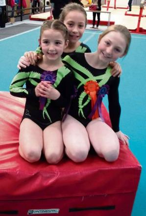 TRIO'S JOY: Three Barry YMCA gymnasts - Celyn Powell, Laila-Jade Lang and Sophia Foscolo - were successful at a South Central grades event.