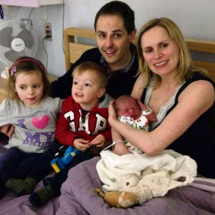 TOGETHER: Jonathan and Cathryn Hurley (nee Scott) with daughter Eva, son Owen and baby Isaac  (4879309)