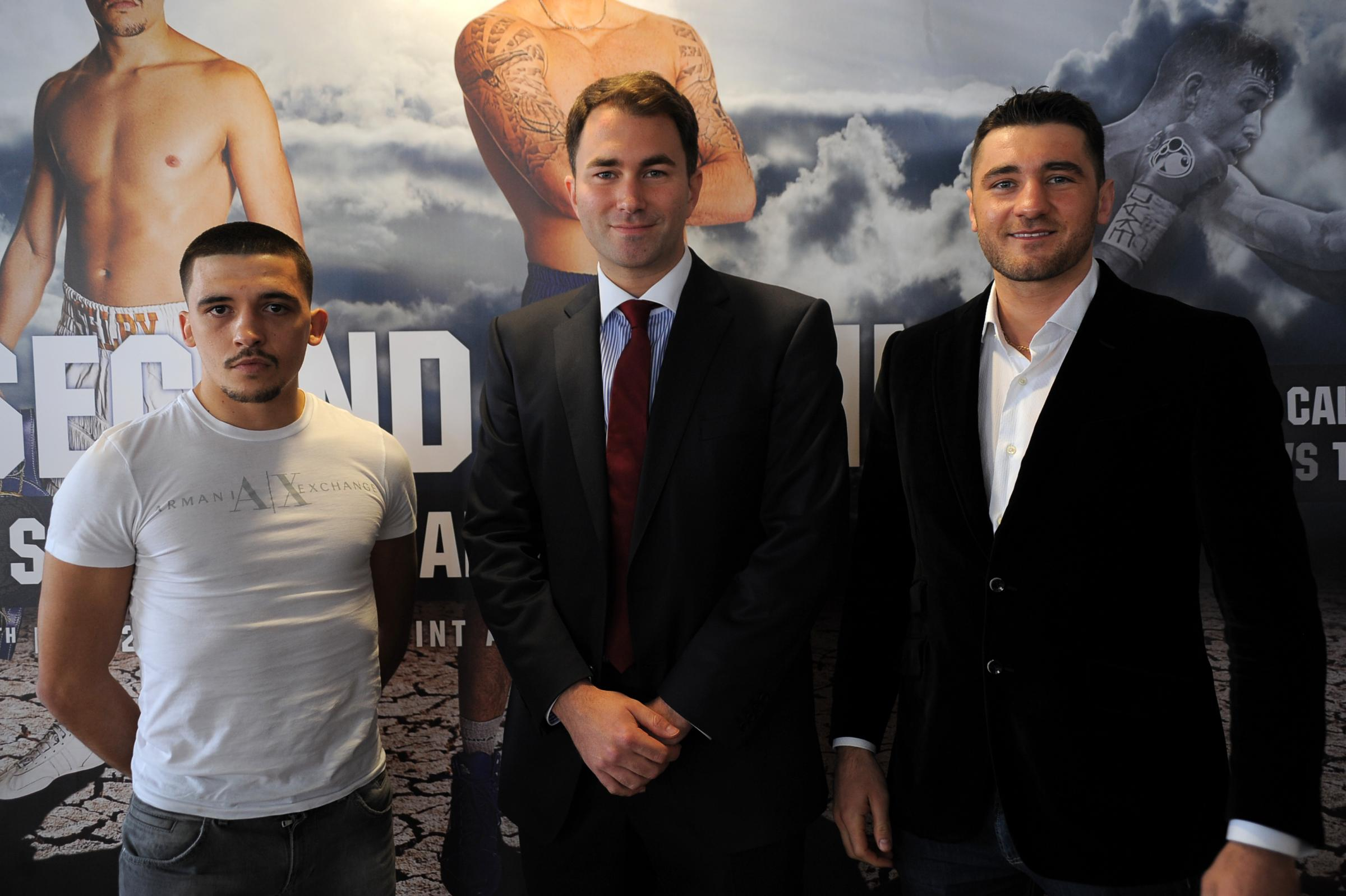 BOXING STARS: Lee Selby (left) with Eddie Hearn and Nathan Cleverley after the 'Second Coming' bill was announced (5026228)