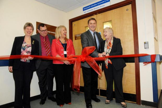 OPENING: Jane Hutt AM, Stuart Egan, Maria Battle, Neil Moore and the deputy minister for social services Gwenda Thomas at Barry Hospital