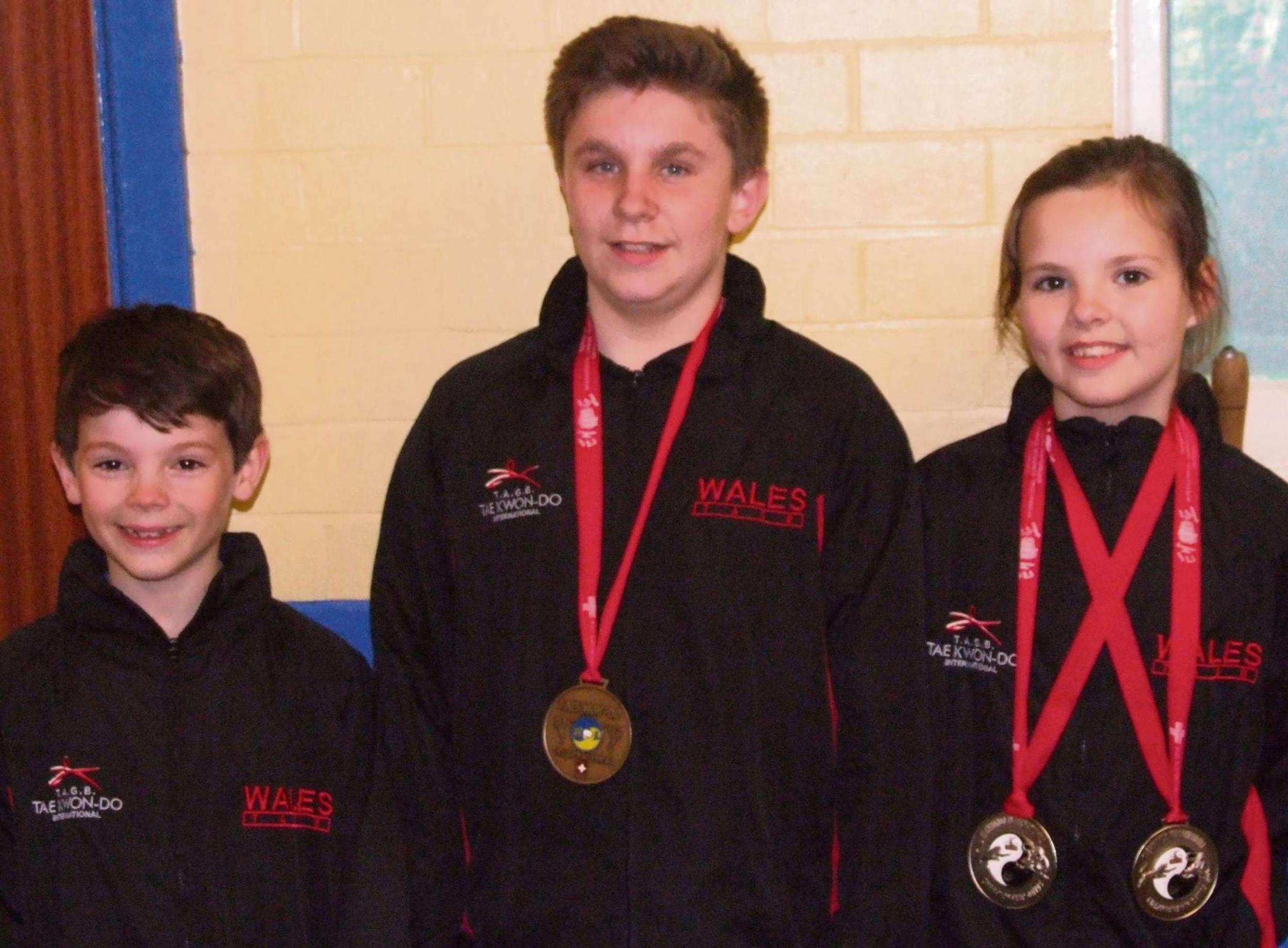 EURO MEDALS: Three talented young local taekwondo students - Harri Burmingham, Ashton Curnick and Menna Burmingham - have recently returned from the European Taekwondo Championships in Davos, Switzerland with an array of medals.