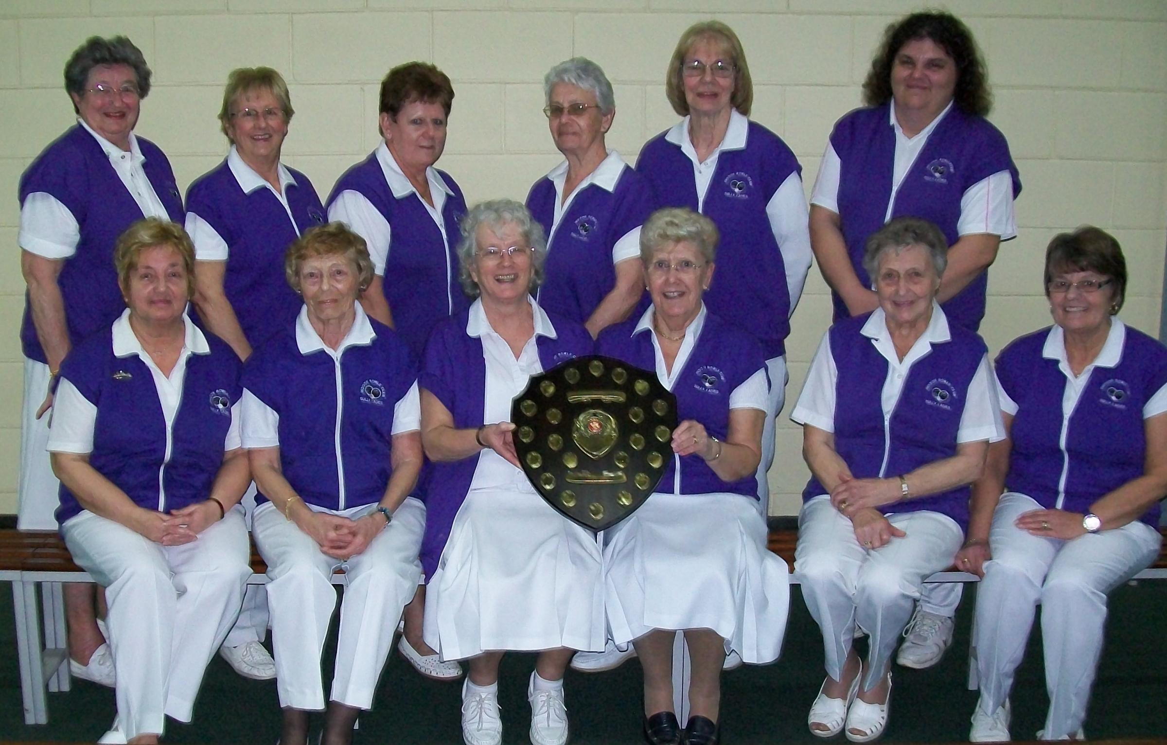 CHAMPIONSHIP SUCCESS: Ladies from the Sully Indoor Bowls Club with the D J Radford Championship League Shield - back row, from left: Barbara Stanton, Beryl Holmes, Linda Woodcock, Pat Cogbill, Pat Holsworthy and Bethan Horgan. Front: June Be