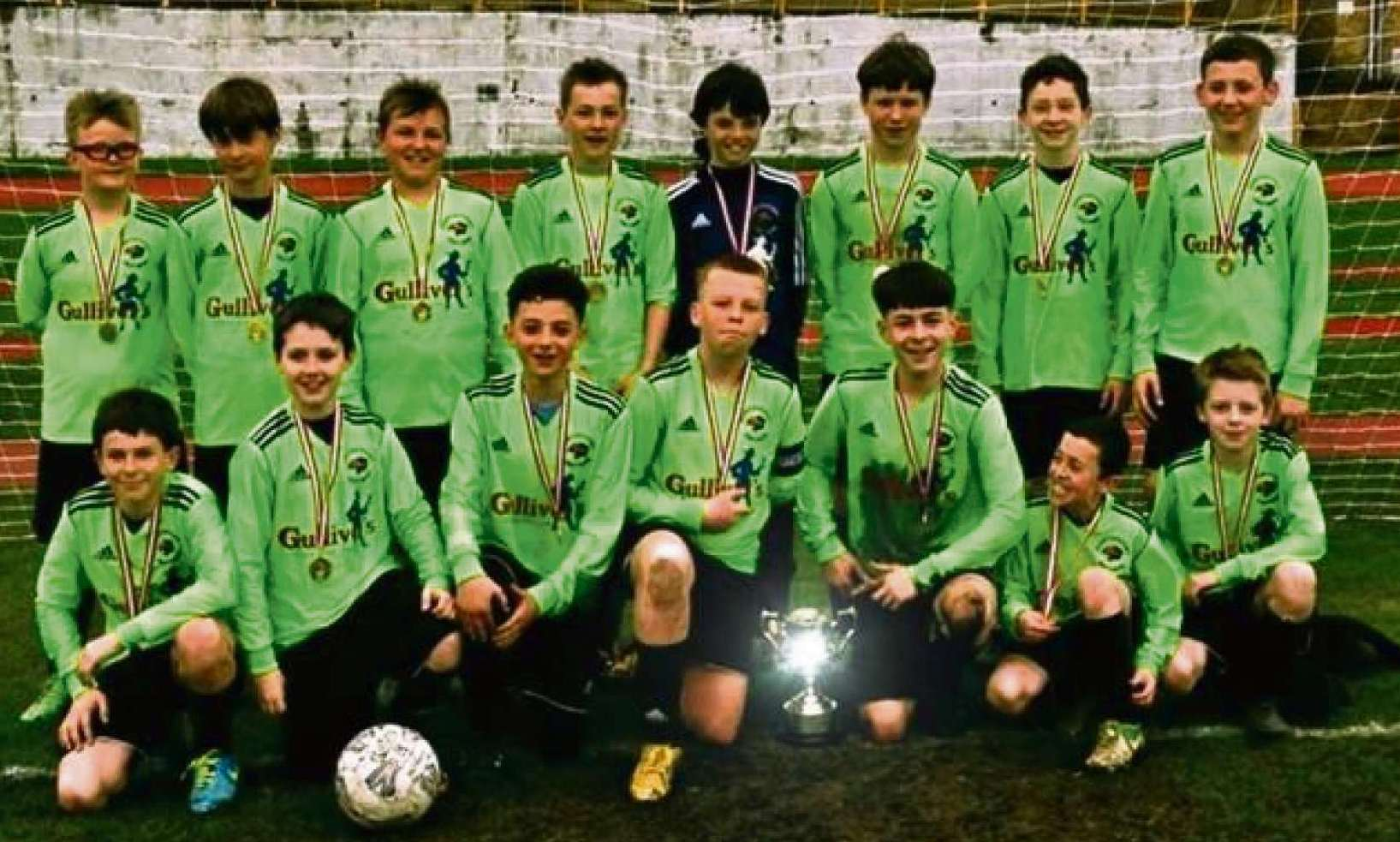 CUP WINNERS: Underdogs Porthkerry Panthers were all smiles after they clinched the Vale Junior Soccer League U13 Cup following a penalty shoot-out.