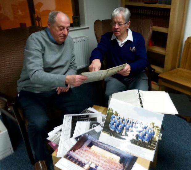 CHOIR ARCHIVISTS: John and Les working on the records