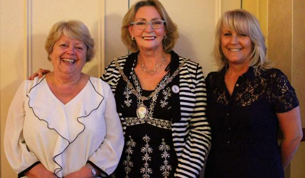 NEW MEMBER: Yvonne, President Audrey and Sian