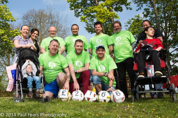 FINAL TOTAL: A charity football match between Ty Hafan Dads and Dan Evans FC raised a total of £2,166 for the children's hospice