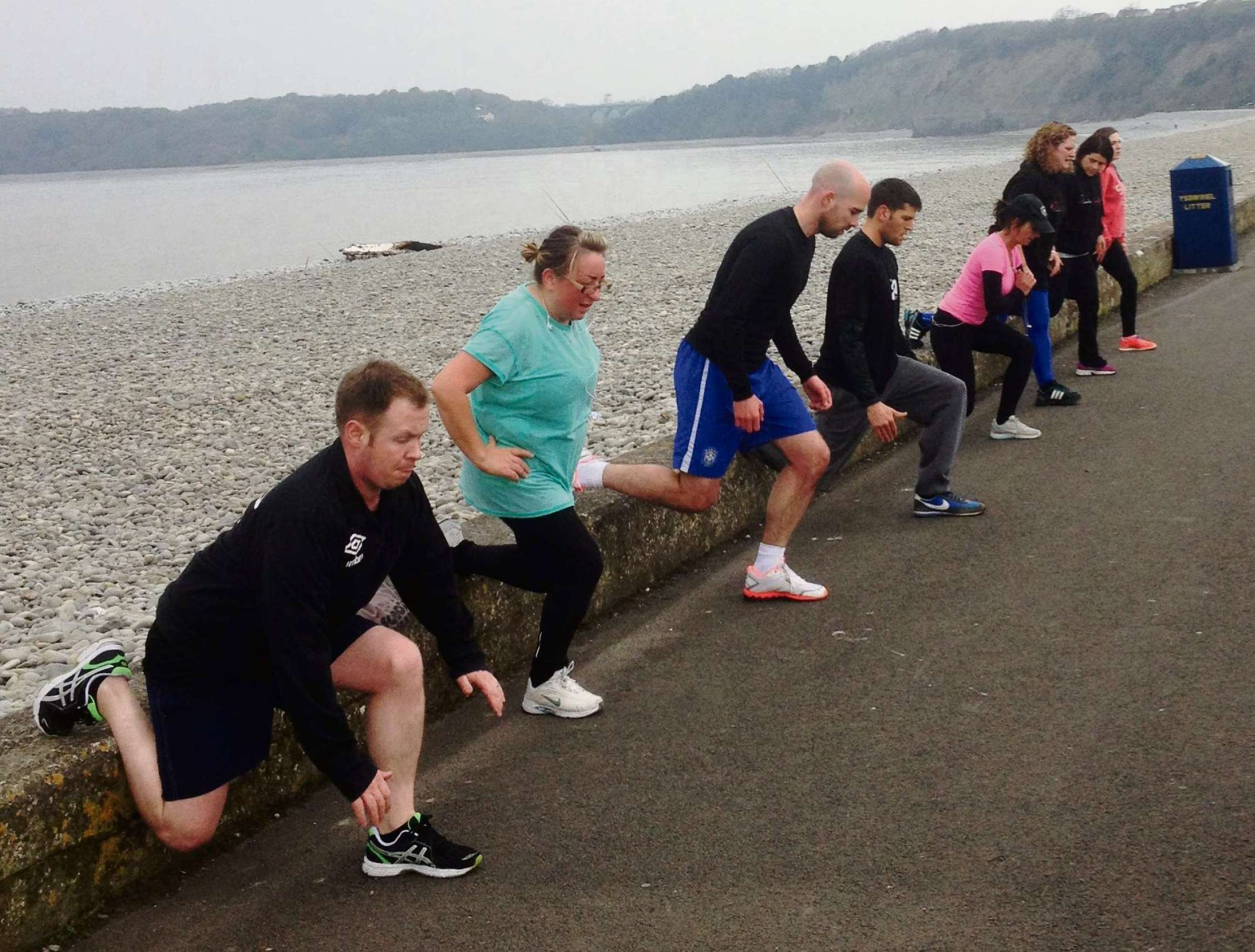FITCLUB: Members warm up on Barry Island