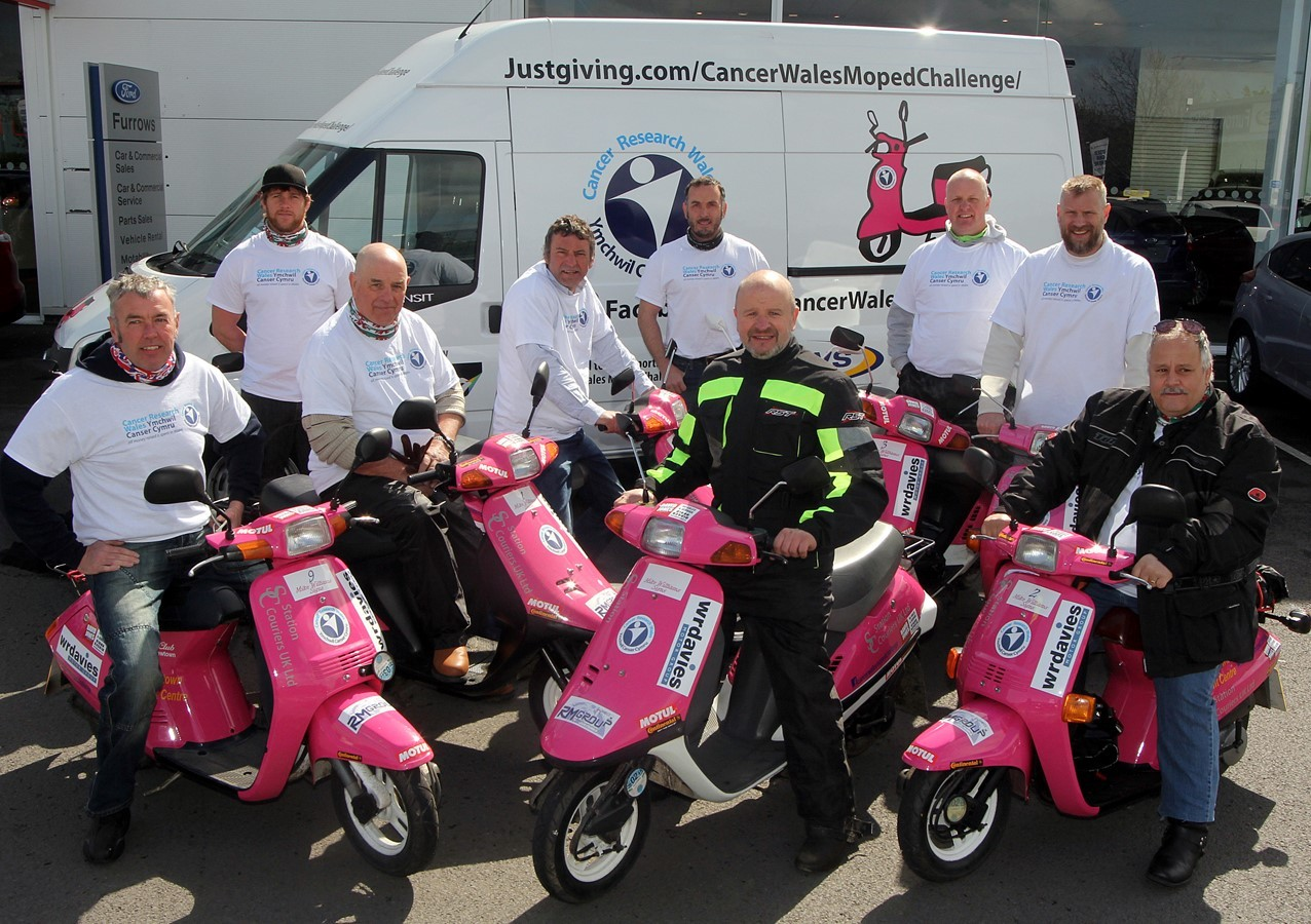 PINK MOPEDS: The Cancer Research Wales Moped Challenge riders