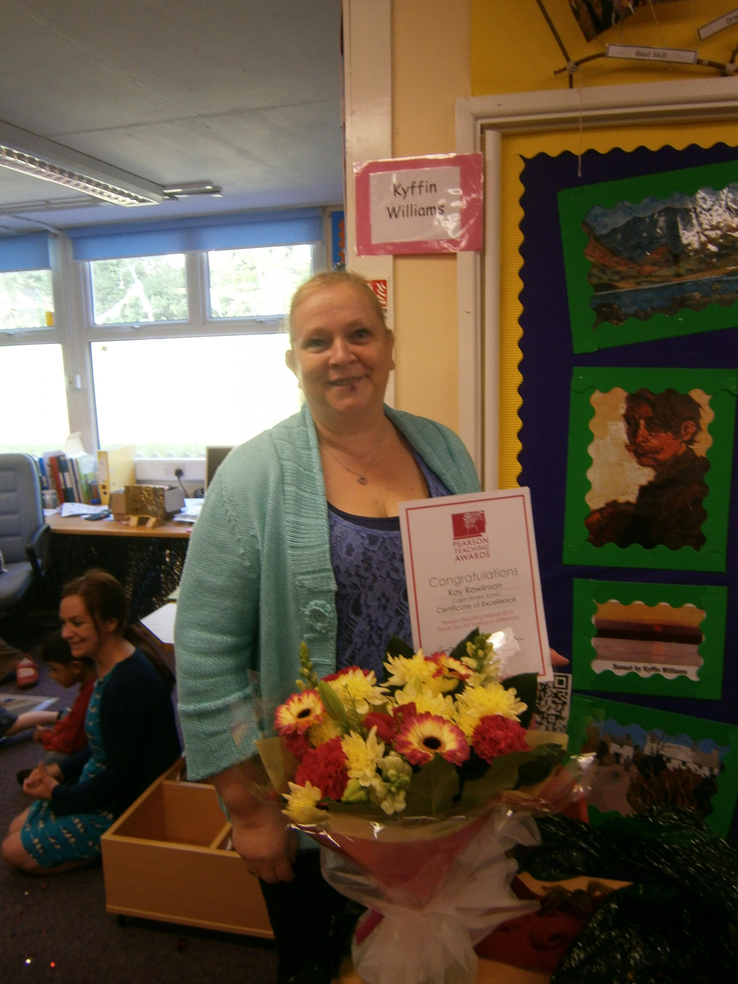 AWARD: Kay Rawlinson has been awarded a Certificate of Excellence from the Pearson National Teaching Awards