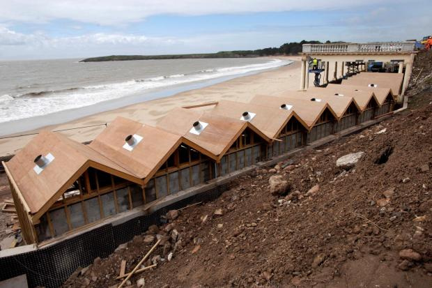 The newly constructed beach huts at Barry Island