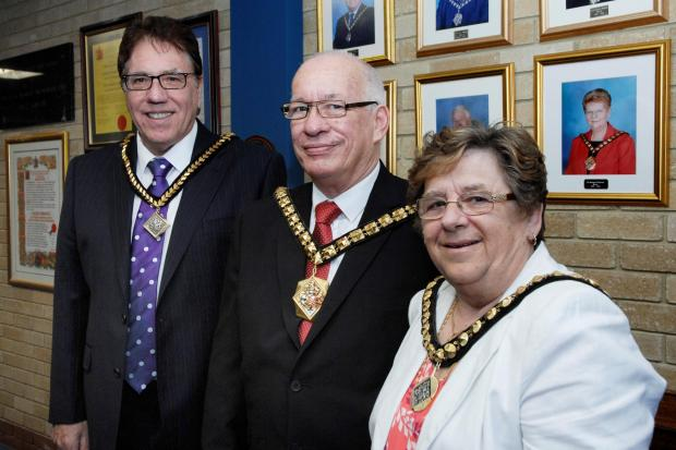 ELECTED: Deputy Mayor Fred Johnson, Mayor Howard Hamilton, Mayoress Carol Hamilton