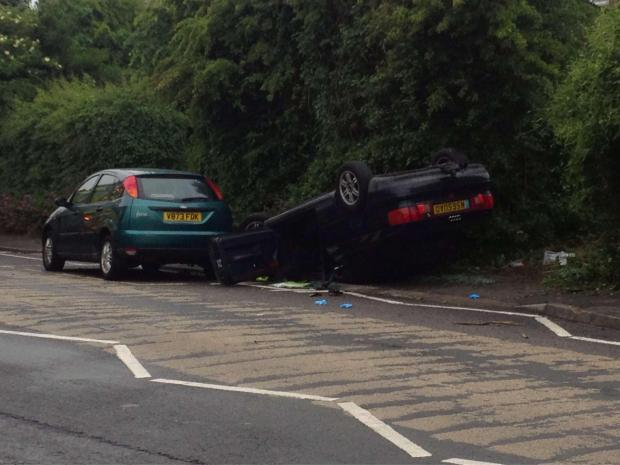 CRASH: Robert Bell's car outside Rhws Primary School after the accident