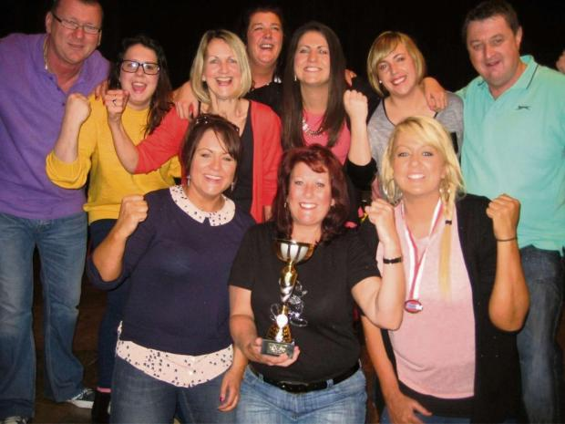 Barry And District News: SKITTLES TEAM: Back row (l-r) Stephen Dite, Jessica Marsh, Joanne Cosslett, Rachel Hopper, Laura Cosslett, Kayleigh Richardson and Terry Powell. Front row (l-r) Toria Marsh, Julie Hawkins, Leanne Cosslett