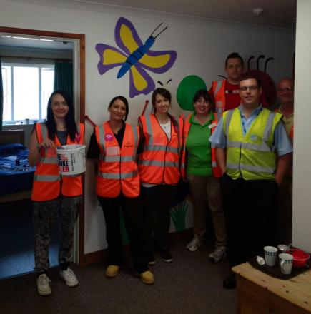HELP: Keepmoat staff at the Action for Children Centre