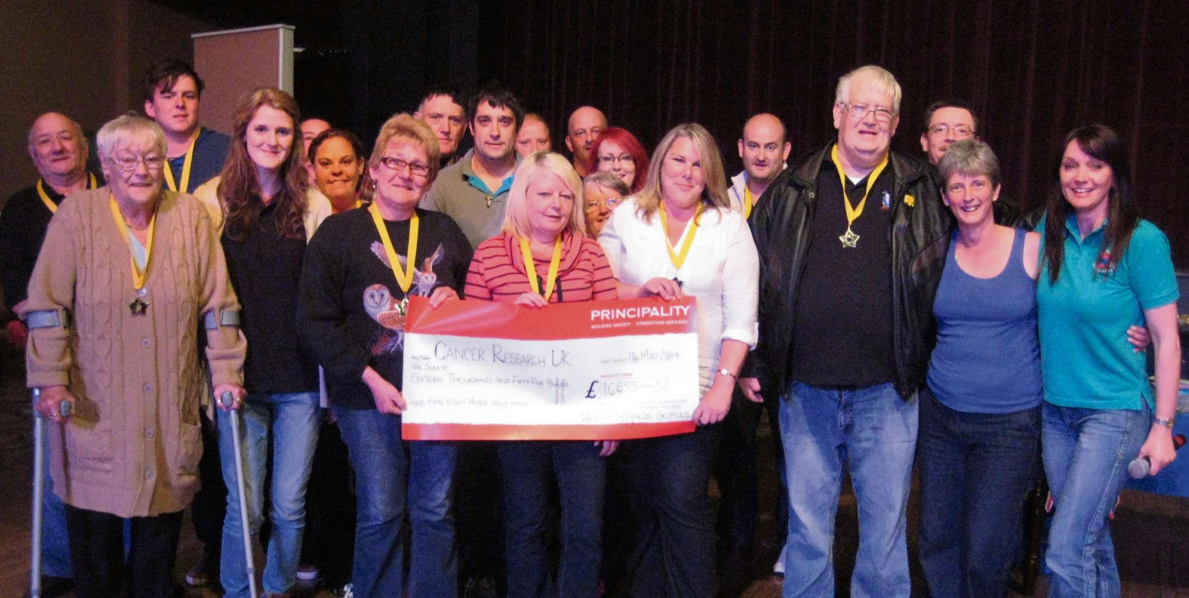 The Welsh Wizards with their cheque presented to Rachel Bourke (far right) and Sarah Ashton (second right).