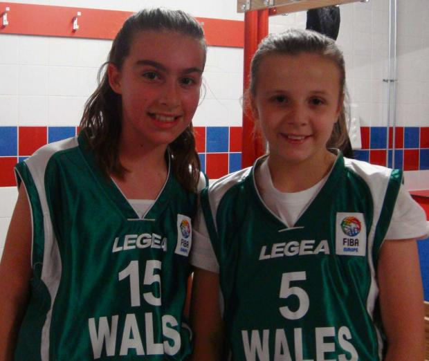 WELSH VESTS: St Helen's Junior School duo Georgia Hellerman and Maisie Harrhy who are members of the Wales U14 basketball squad.