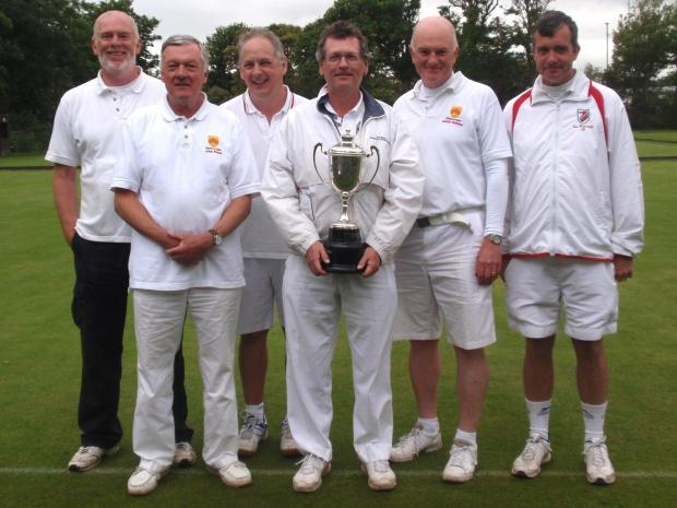 TROPHY TRIUMPH: Inter-Counties champions . . .The winning Glamorgan croquet team - from left, Gerry McElwain, John Evans, Richard Smith, Chris Williams, David Walters and Ian Burridge.