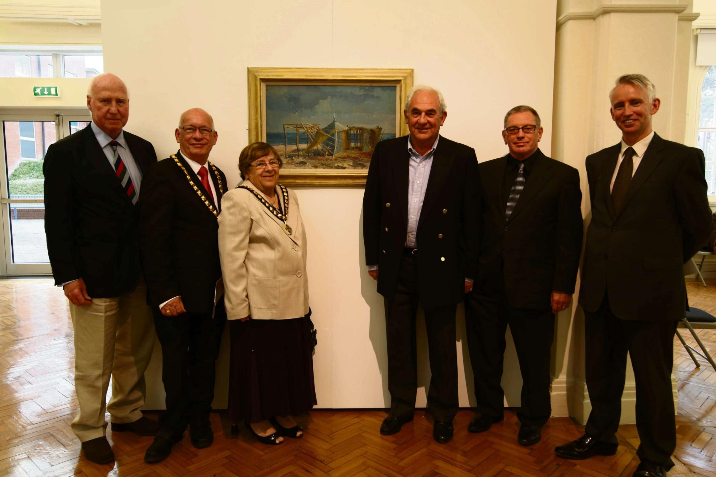 EXHIBIT: Dr Peter Beck, Mayor Howard Hamilton, Mayoress Carole Hamilton, Nigel Howard - Jones, Professor Tony Curtis and Grahame Davies