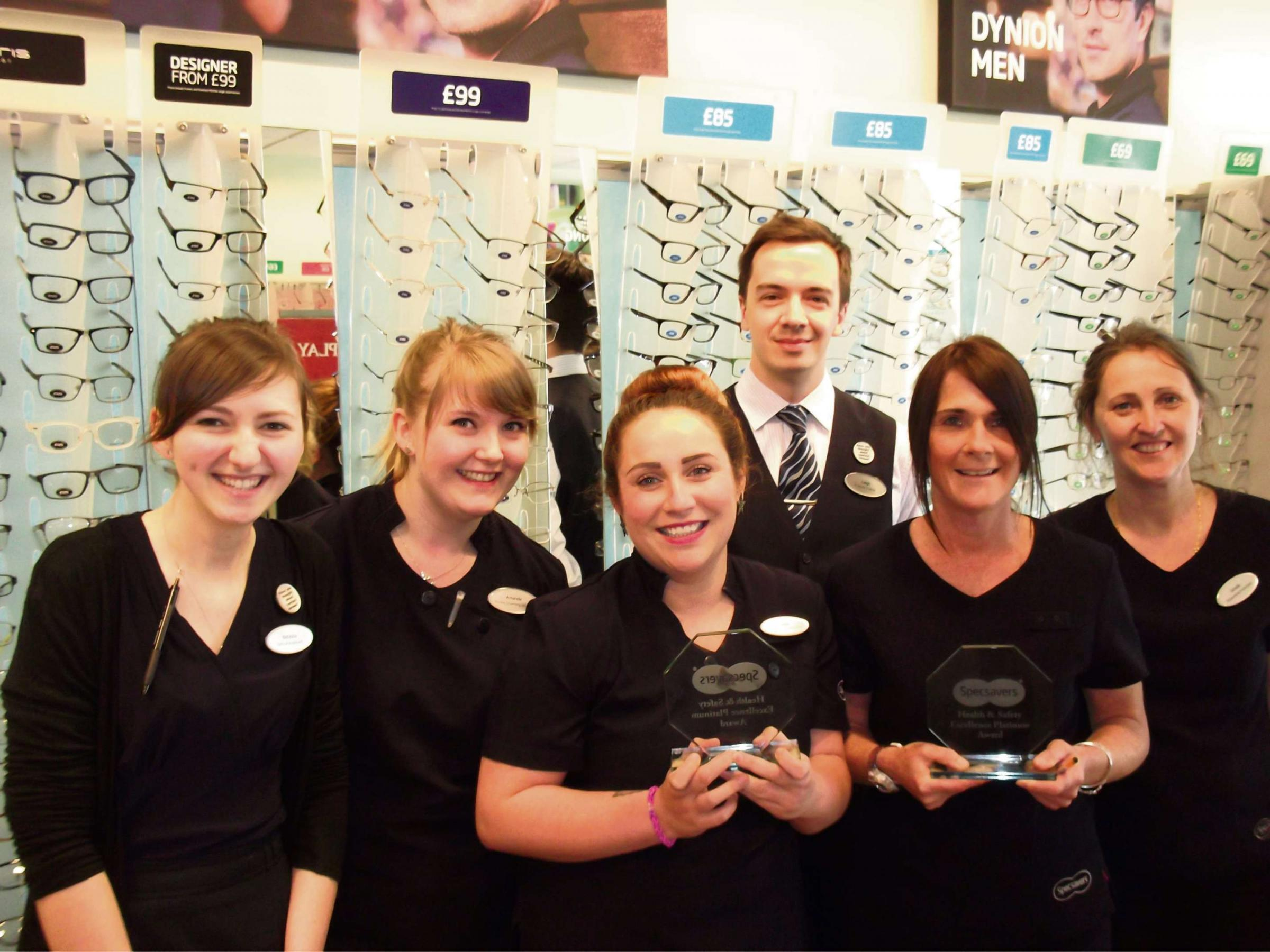 RECOGNISED: Specsavers staff members Natasha Holland, Amanda Brown, Daisy Mayne, Leigh Whitfield, Kath McNicholas, store manager, and Ursula Coulthard