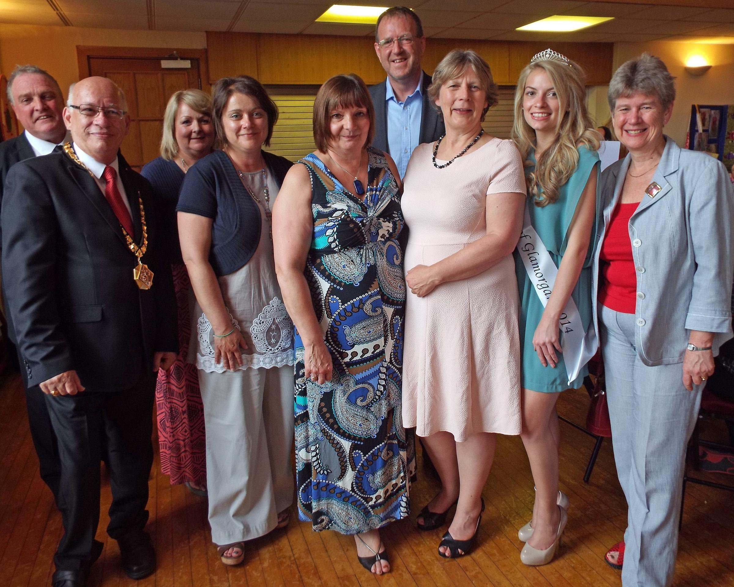 INSPIRE: Vale Network Members with Jane Hutt AM, Mayor Hamilton and Miss Vale of Glamorgan