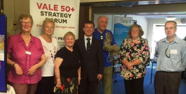 AWARENESS EVENT: MP Alun Cairns called in at Barry's Gwenog Court to support a Vale 50+ Strategy Forum Elder Abuse Awareness event.