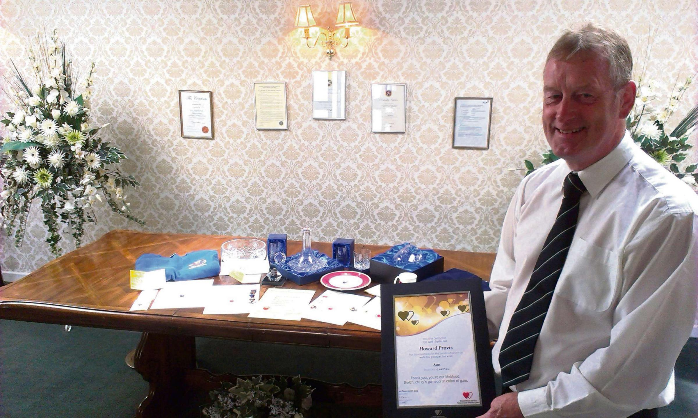 DONOR: Howard Provis with his awards from the Welsh Blood Service (7989631)