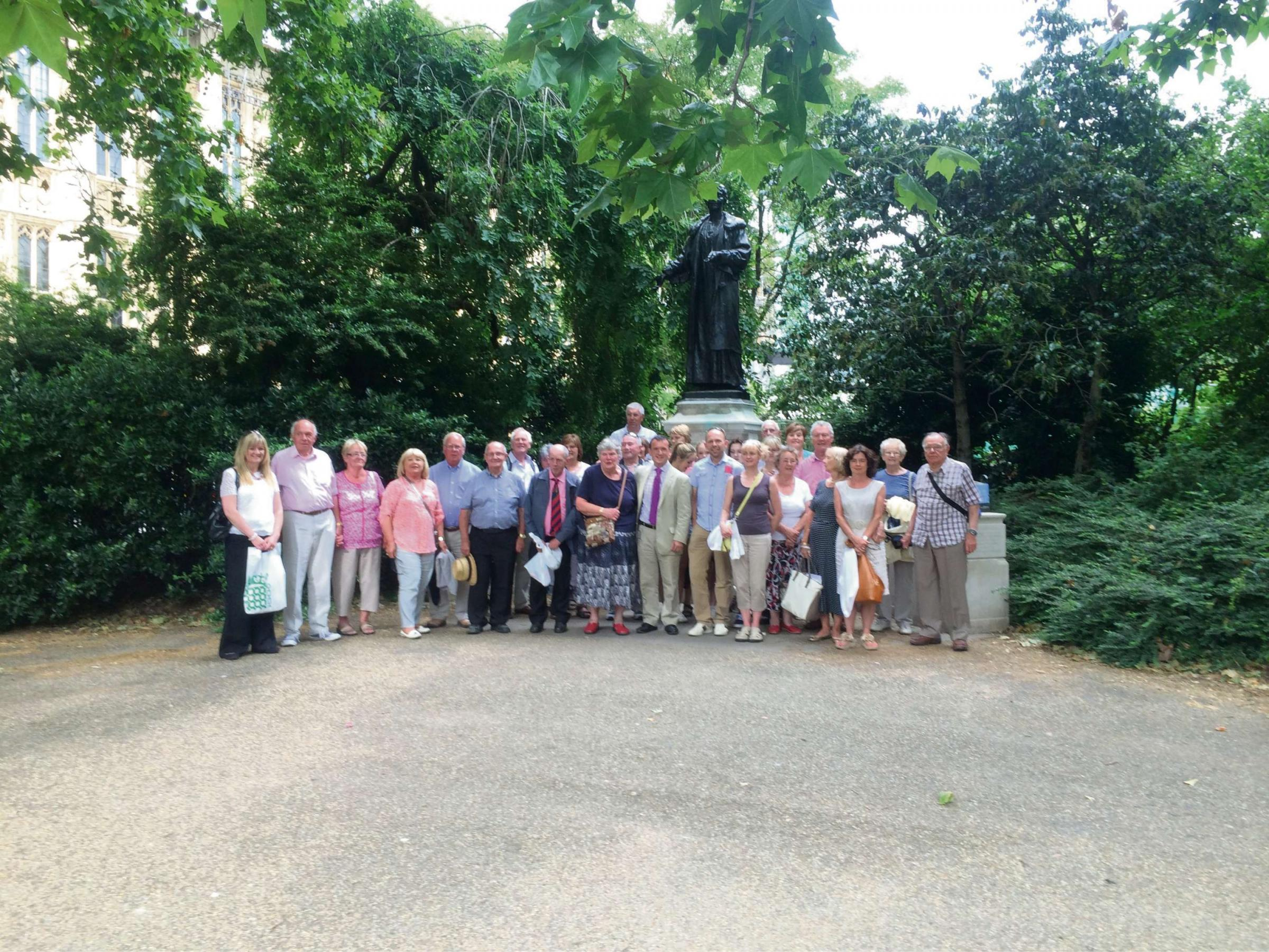 TOUR: Alun with members of the All Saints and St Baruc's Church in Victoria Gardens