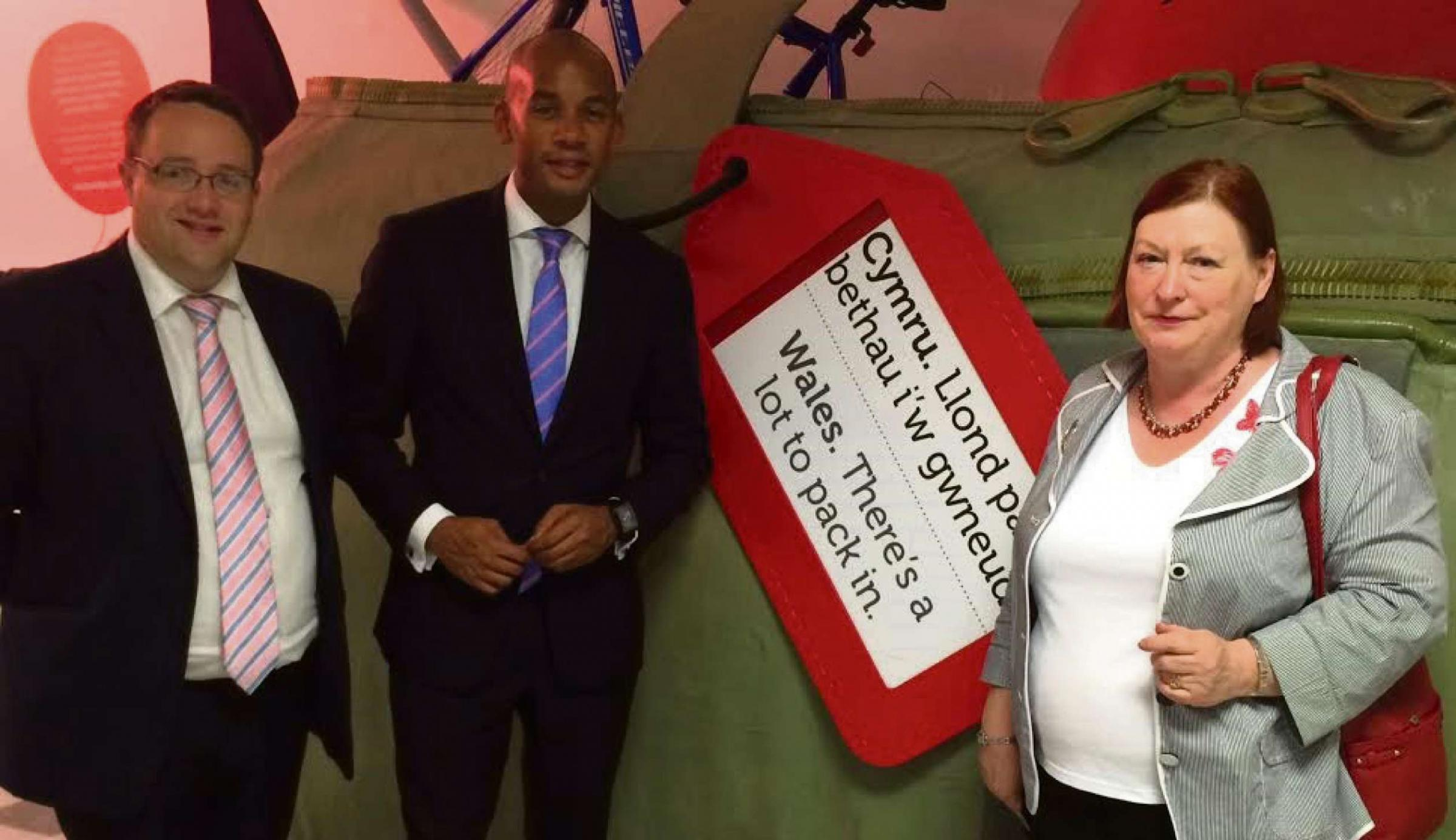 AIRPORT: Cllr Elmore with MP Chuka Umunna MP and Edwina Hart AM