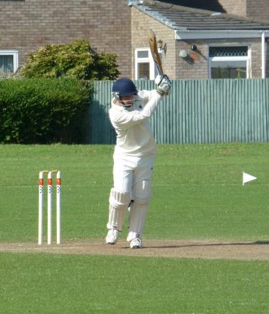 MATT'S FINE KNOCK: Dinas Powys batsman Matt Todd-Bennett on his way to a fine 73 against Rogerstone.