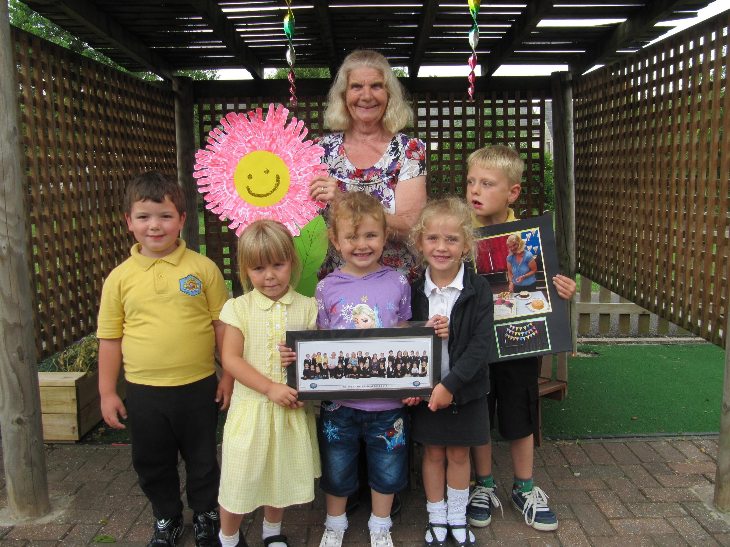 RETIRING: Mrs Angela Ayres with pupils from Colcot Primary School on her last day (8374979)
