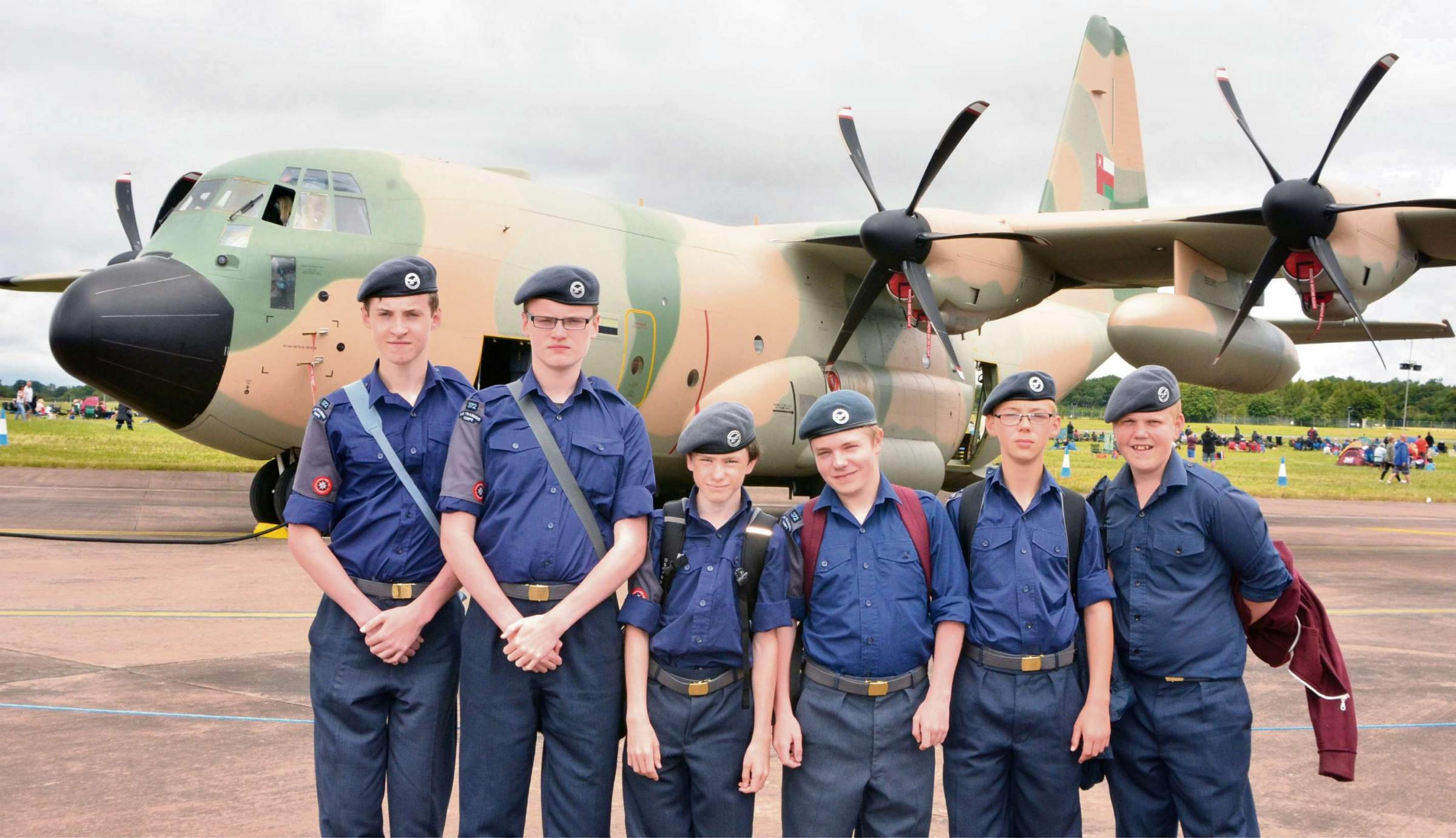 AIR TATTOO: Kieren Bushell, Dominic Bushell, Rhys Lewis, Jacob Petre, Nathan Thompson and Alex Cheeseley in front of Hercules transport aircraft