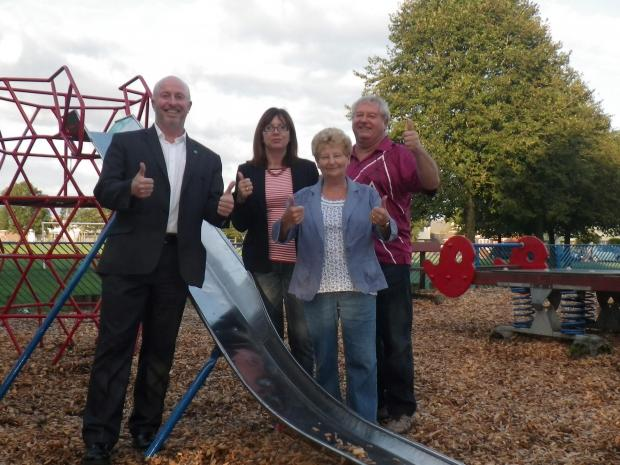 PLAY AREA: Cllr Rob Curtis, Cllr Claire Curtis, Cllr Margaret Wilkinson and Cllr Anthony Powell