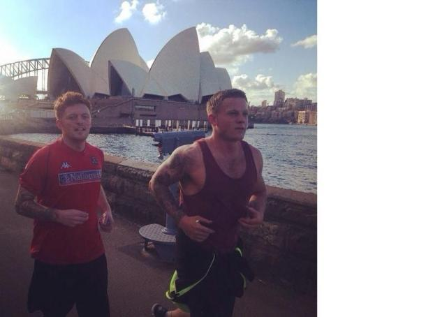 MARATHON IN THEIR SIGHTS: Jason and Dan Debono prepare for their race by viewing the course
