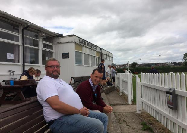 IT'S CRICKET: Vale MP Alun Cairns watches Barry Athletic Cricket Club versus Creigiau with Mark Rees from Barry Athletic Cricket Club