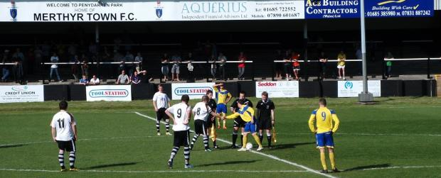 ADVERSARIES: The match between Barry and Merthyr in October 2011