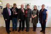 REMEMBERING THE GREAT WAR: Cllr Gwyn John, photographer Jon Pountney, Mayor Howard Hamilton, Jane Hutt AM, ceramicist Tracey Baker and arts development officer Tracey Harding