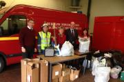 Jane Hutt AM and the Aberthaw team with donations for Ty Hafan